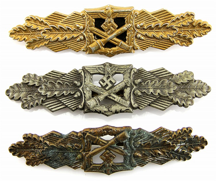 WWII GERMAN CLOSE COMBAT CLASP LOT OF 3