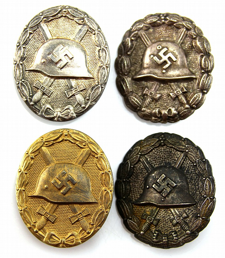WWII GERMAN WOUND BADGE LOT OF 4