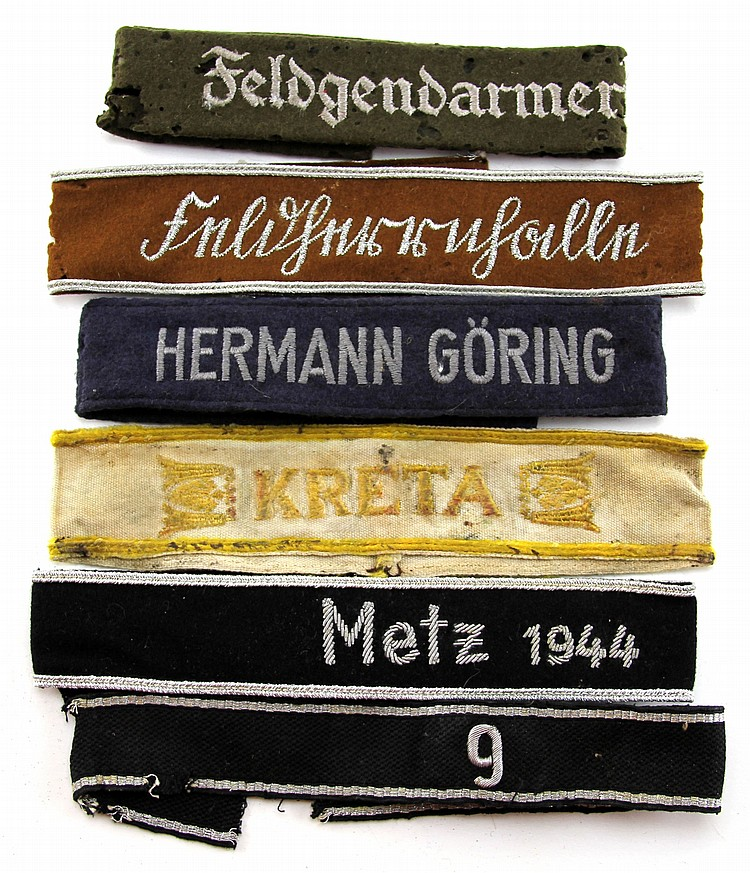 WWII GERMAN CUFF TITLE LOT OF 6