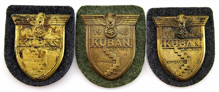 WWII GERMAN KUBAN ARM SHIELD LOT OF 3