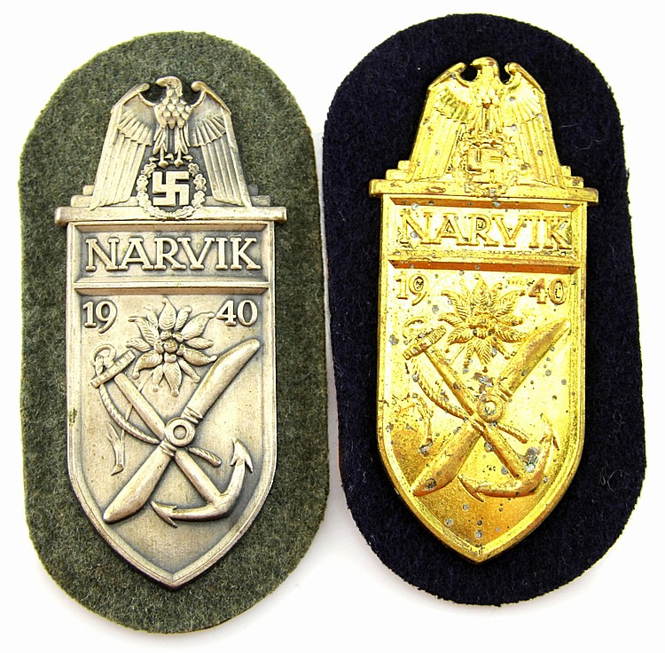 WWII GERMAN NARVIK ARM SHIELD LOT OF 2