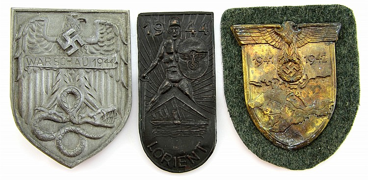 WWII GERMAN ARM SHIELD LOT OF 3