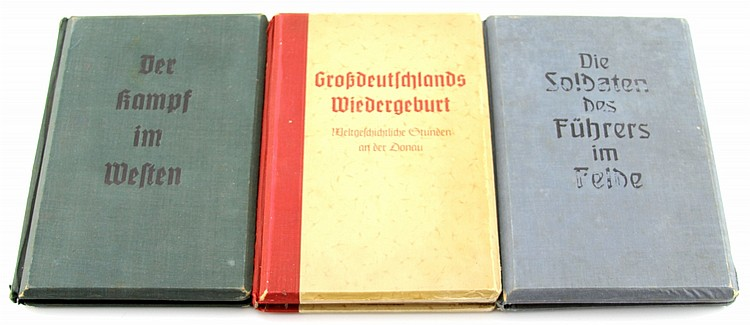 WWII GERMAN STEREO VIEW ALBUM LOT OF THREE