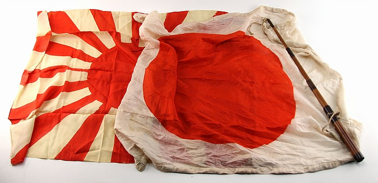 WWII JAPANESE SILK FLAG LOT OF TWO