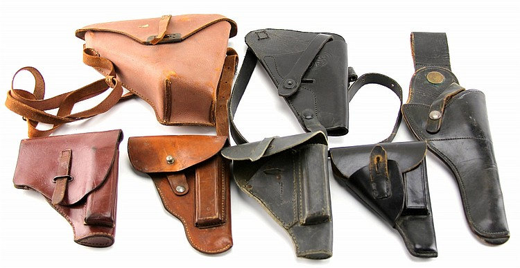 (7) VINTAGE LEATHER PISTOL HOLSTERS