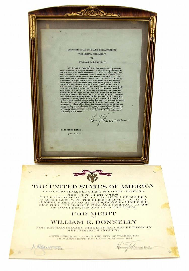 HARRY TRUMAN SIGNED MEDAL FOR MERIT CERTIFICATE