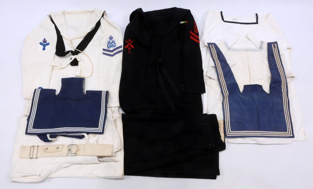 WWII BRITISH NAVY WHITE & BLUE JUMPER UNIFORM LOT