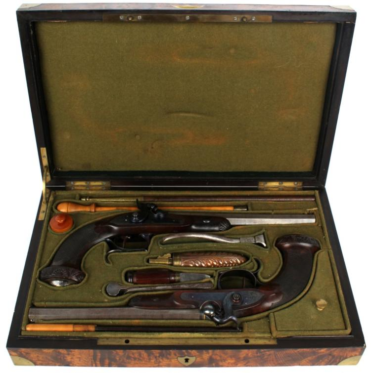 CASED PAIR OF FRENCH PERCUSSION PISTOLS - LYONNET