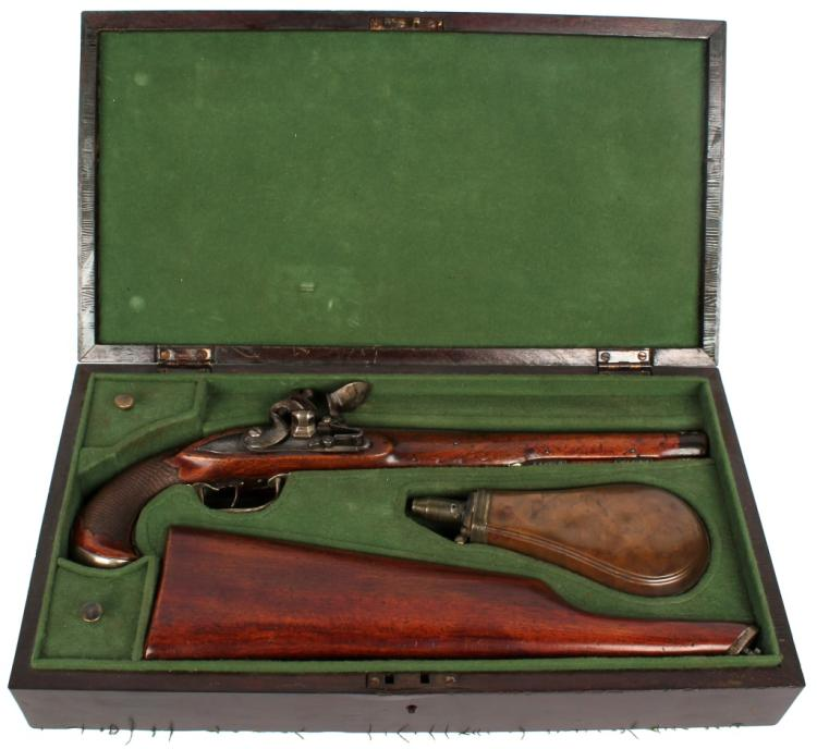 CASED FLINTLOCK PISTOL WITH DETACHABLE BUTTSTOCK