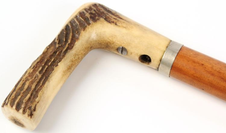 ANTIQUE STAG HANDLE BAMBOO CANE GUN