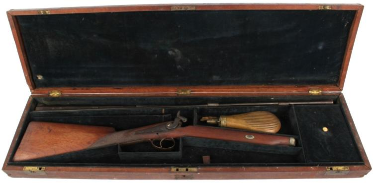 CASED ANTIQUE ENGLISH PERCUSSION SHOTGUN