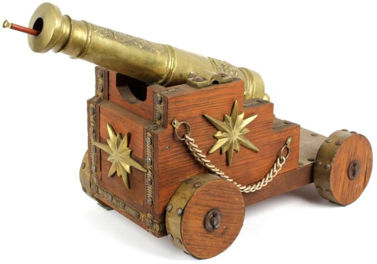ORNATE BRASS CANNON ON CARRIAGE