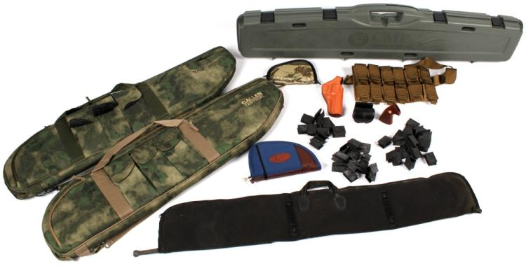 LOT OF FIREARM CASES AND ACCESSORIES