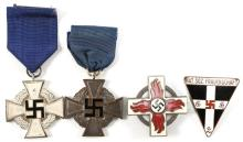 WWII GERMAM LONG SERVICE MEDAL & INSIGNIA LOT OF 4