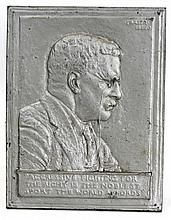 JAMES FRAZER WHITE METAL PLAQUE T. ROOSEVELT
