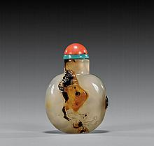 ANTIQUE CAMEO AGATE SNUFF BOTTLE