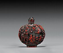 ANTIQUE RED LACQUER SNUFF BOTTLE