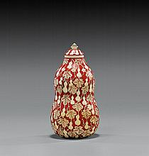 LACQUERED IVORY SNUFF BOTTLE: Gourd