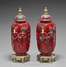 Pair Painted Red Metal & Gilt Urns