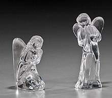 Two French Clear Glass Angels by Baccarat