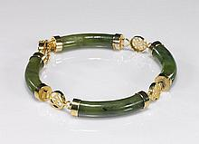 Chinese Spinach Jade & Gilt Bracelet