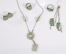 Group of Five Jadeite Jewelry Items