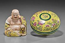 Two Chinese Famille Jaune Porcleains: Box & Budai