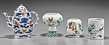 Four Chinese Porcelains: Teapot, Brushpot & Vessels