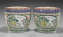 Pair Old Japanese Enameled Porcelain Hibachi