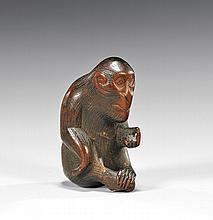 CARVED WOOD NETSUKE: Monkey