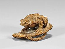 CARVED WOOD NETSUKE: Toad on Sandal