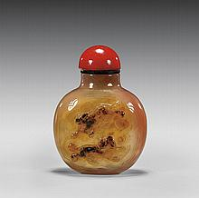 CARVED AGATE SNUFF BOTTLE