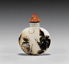 CARVED SHADOW AGATE SNUFF BOTTLE