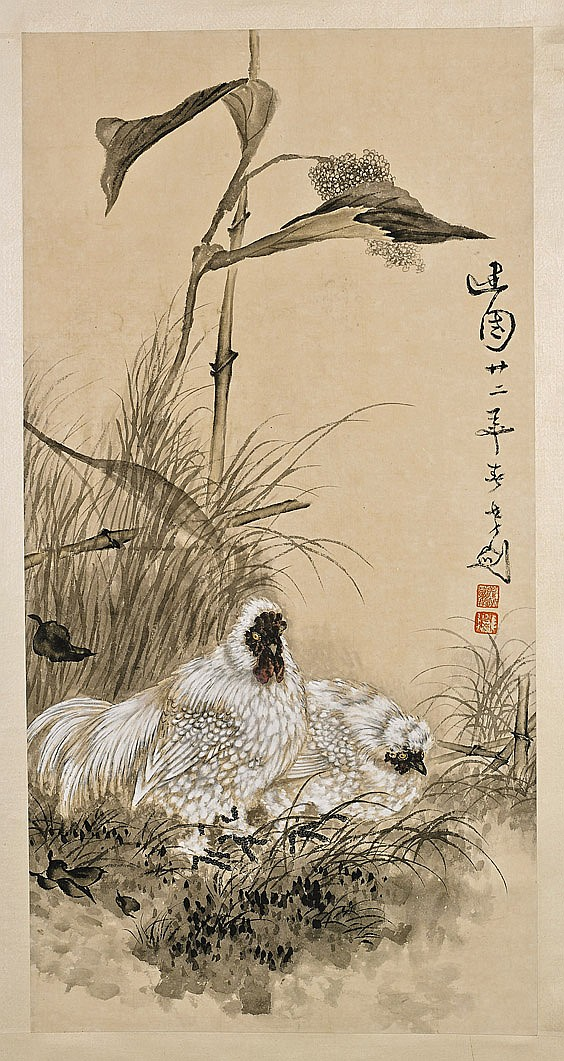 Two Chinese Paper Scrolls: Various Birds