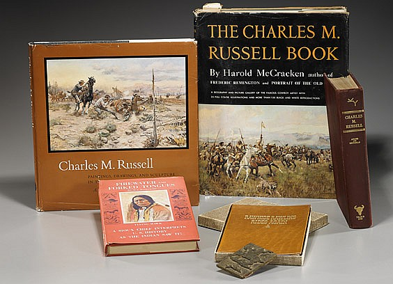 Group C. M. Russell Books & Bronze Plate