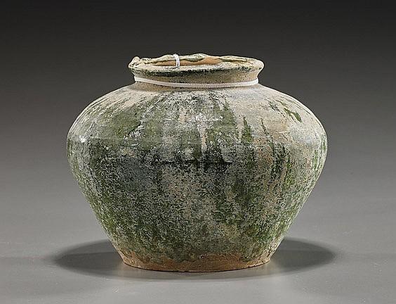 Han Dynasty Green Glazed Pottery Vase