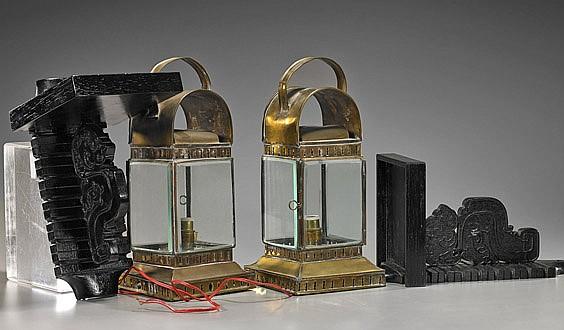 Pair Antique Chinese Copper Lanterns