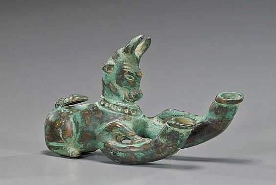 Ancient Greek-Style Bronze Oil Lamp