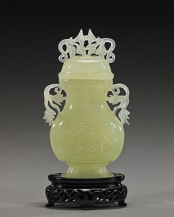 Chinese Carved Yellowish Bowenite Urn