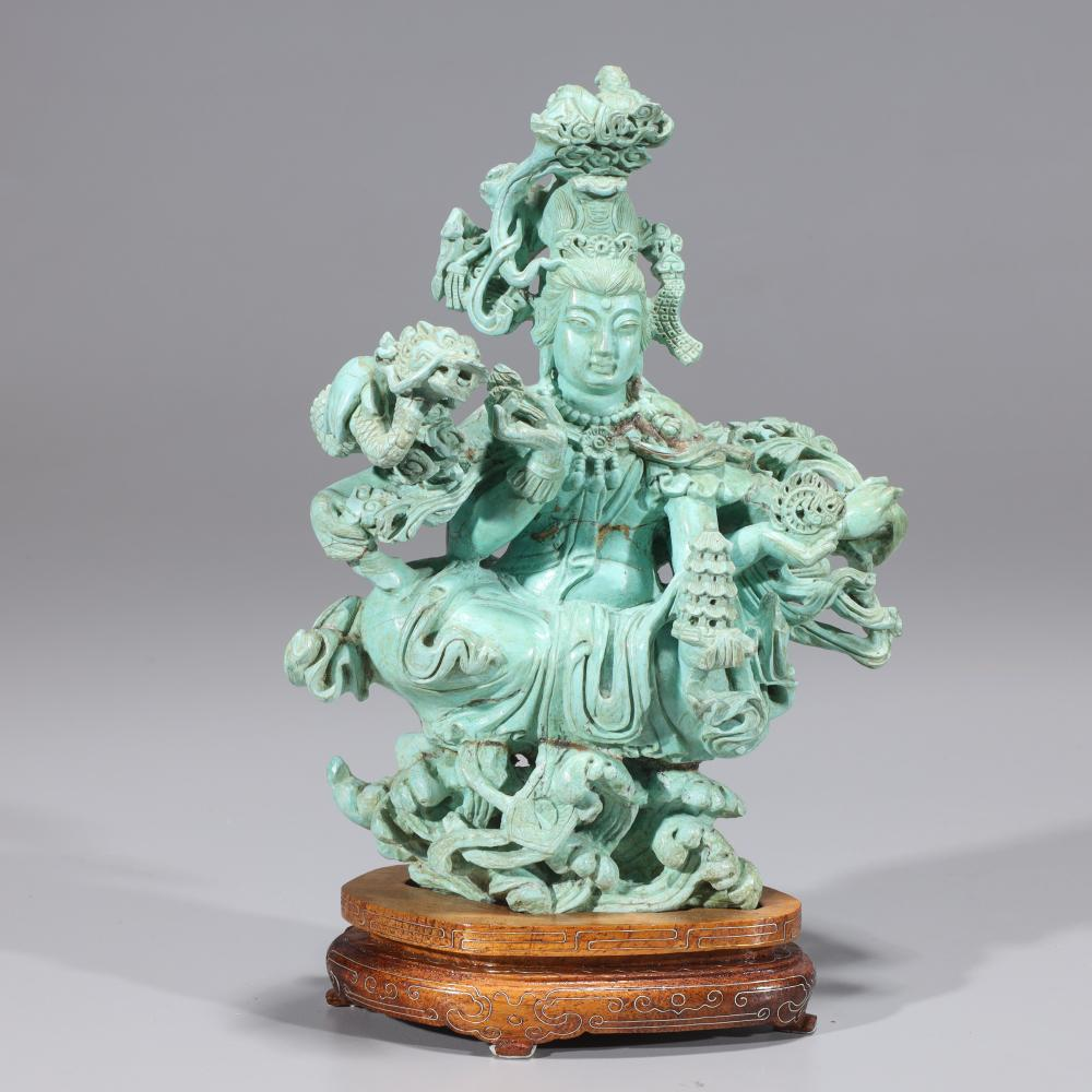 LARGE CHINESE TURQUOISE CARVING OF DEITY