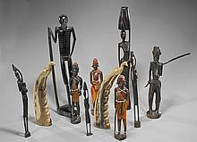 Group of Eleven Carvings: Wood & Horn