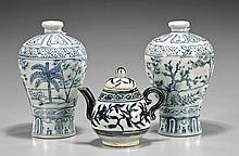 Three Chinese Blue & White Porcelain Vases