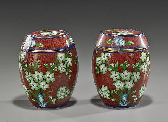 Pair Chinese Cloisonné Barrel-Form Boxes