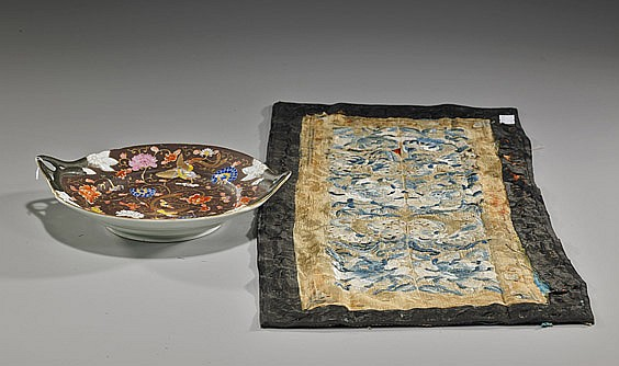 Antique Chinese Porcelain Dish & Silk Panel