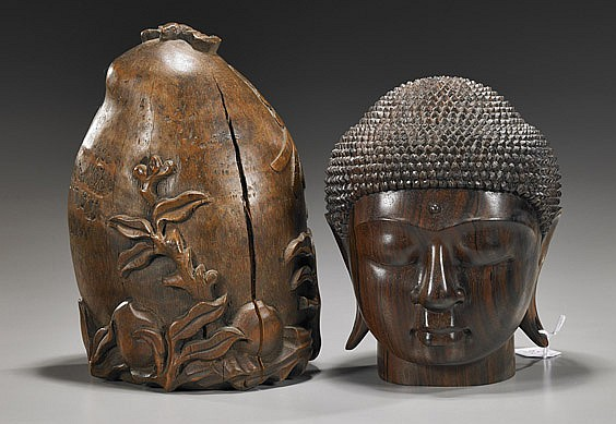 Two Wood Carvings: Peach & Head of Buddha