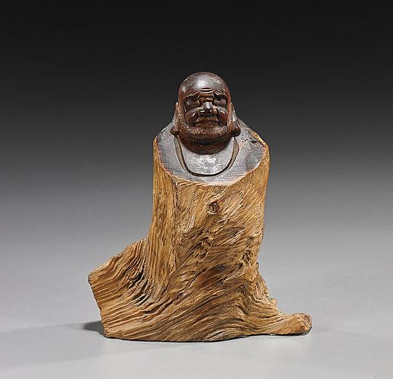 Antique Japanese Burl Wood Daruma