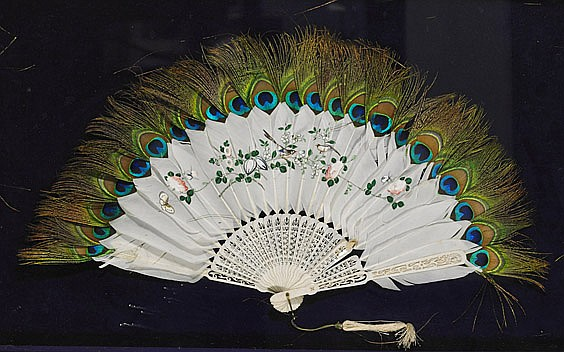 Old Chinese Peacock Feather Fan