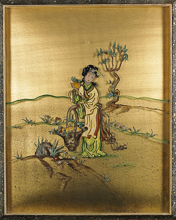 Chinese Reverse Glass Framed Painting