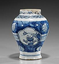 Antique Delft Chinese Pattern Jar
