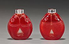 Pair Carved Overlay Glass Snuff Bottles